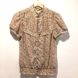 XX1 Keyhole Ruffle Button Up Floral Short Sleeve